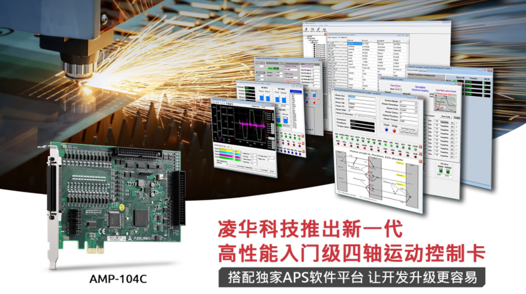 ADLINK's new generation of high-performance entry-level four-axis motion control cards, combined with the exclusive APS software platform, makes development and upgrade easier